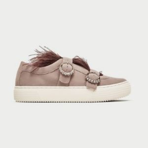 Zara NWT Suede Feather Sneakers